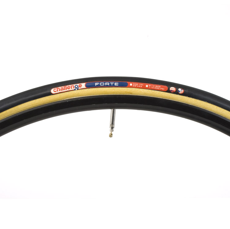 Challenge Forte Tubular Tire Black Tan 700x22 300 tpi 265 grams