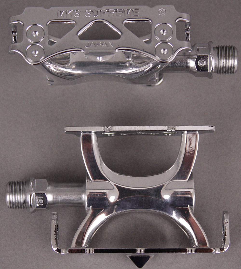"MKS Supreme 9/16"" Polished Silver Track Bike Pedals"