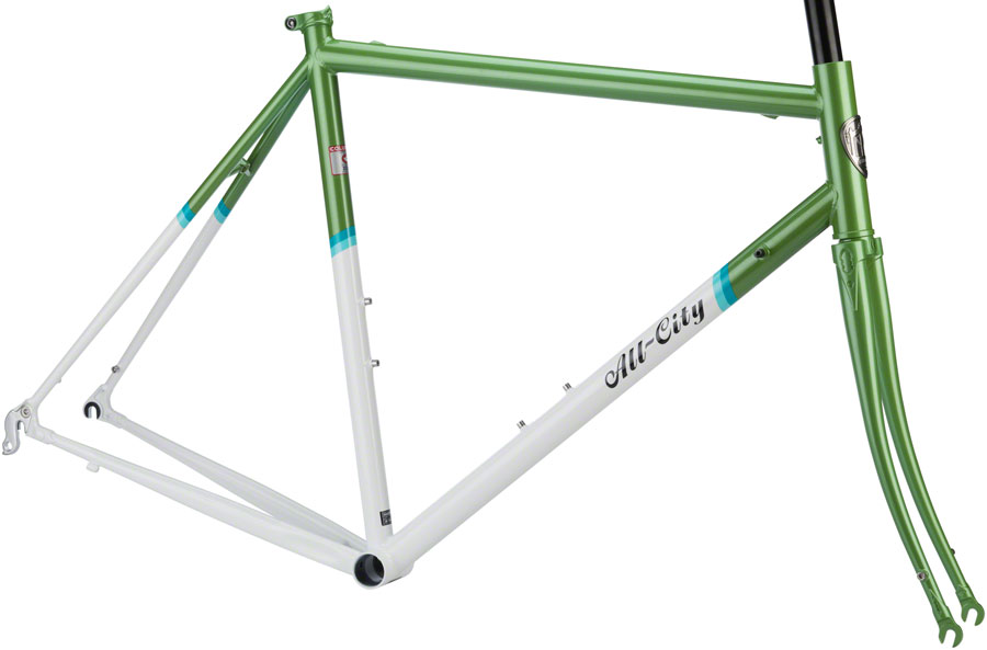 All-City Mr Pink Classic Steel Road Bike Frameset 58 Green White