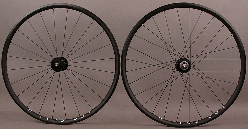 H + Plus Son Archetype Black Phil Wood Track hubs Wheelset 24/28