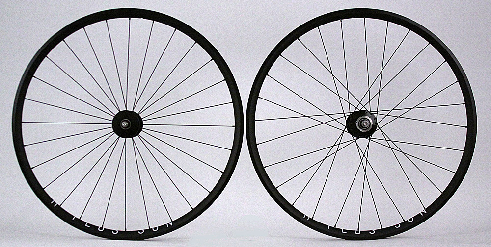 H Plus + Son Archetype Black Phil Wood Wheelset Radial Front 28h