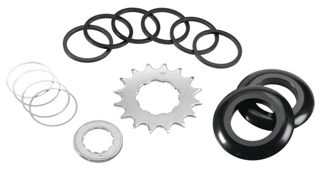 Single speed conversion kit cogs spacers chain guide