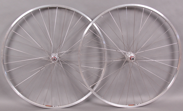 Sun M13 27 inch polished silver rims freewheel hubs wheelset 36h